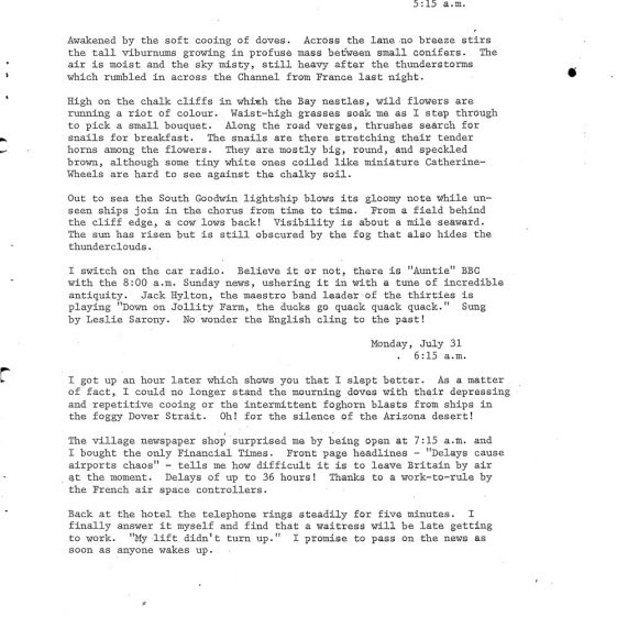 Granville Hotel, Hotel Road: Extracts from a Diary. 1978