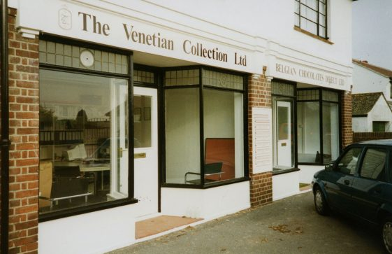 The two shops in The Droveway named The Venetian Collection Ltd and Belgian Chocolates Direct Ltd. 1998