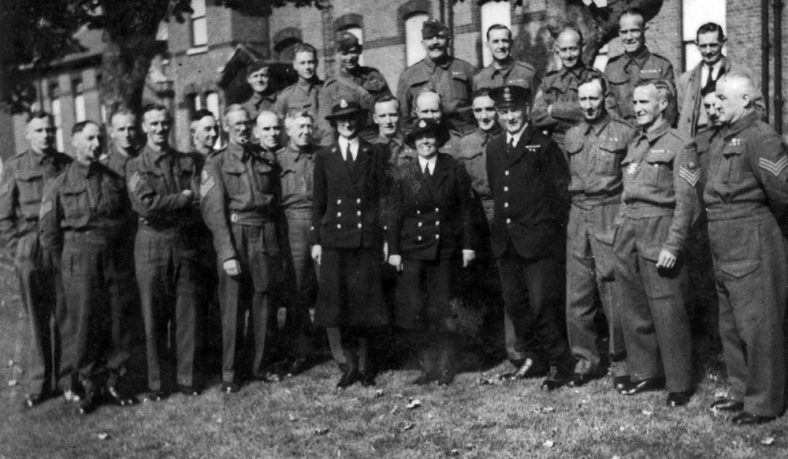 Photograph of Army NCOs and Navy personnel found at Cliffe Place, Station Road during demolition