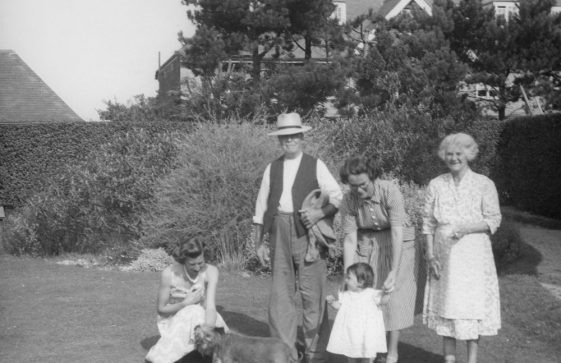 Sharpe family photograph in the garden of the Kestrels between The Droveway and Salisbury Road. c1952