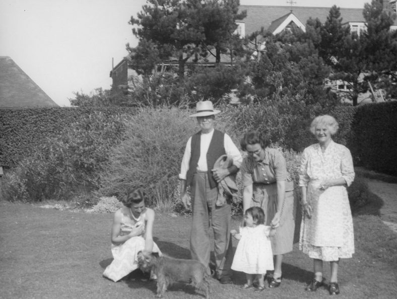 Family group in the garden of the ''Kestrels'' between The Droveway and Salisbury Road. C1952