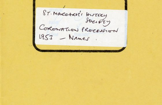 An exercise book entitled St Margaret's History Society - Coronation Procession 1953 Names