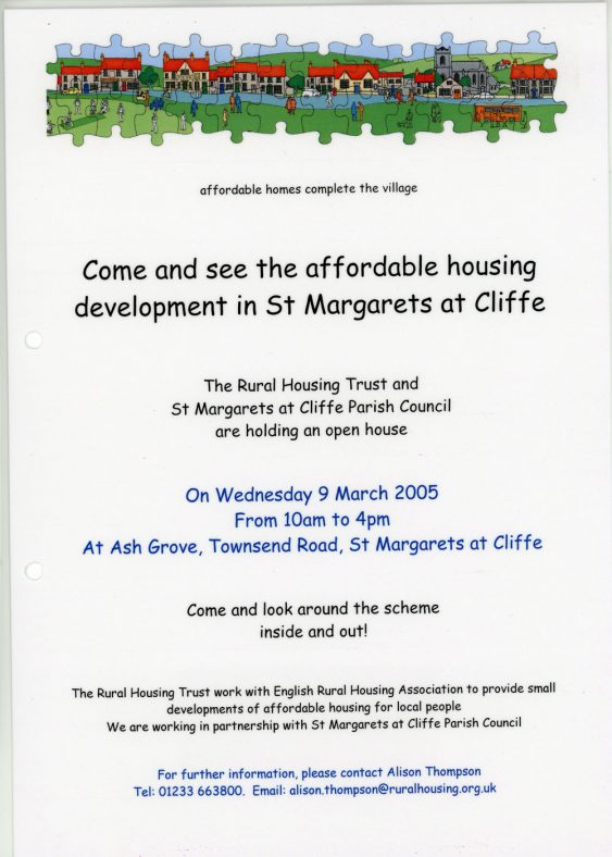 A poster invitation to view the affordable housing development at Ash Grove.  2005