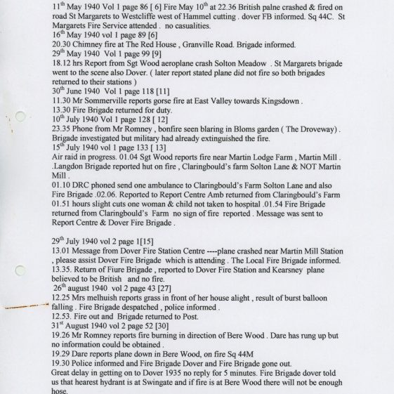 List of fire incidents attended by St Margaret's fire crew from the ARP Logs 1940 to 1945