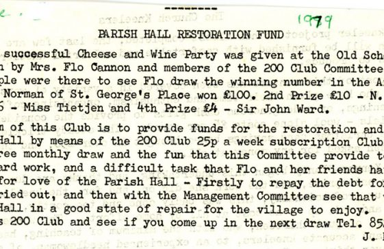 Parish Hall Restoration Fund. 1979