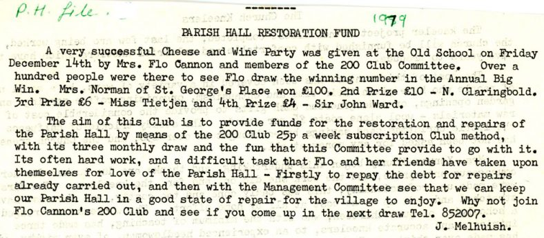 Parish Hall Restoration Fund. 1979