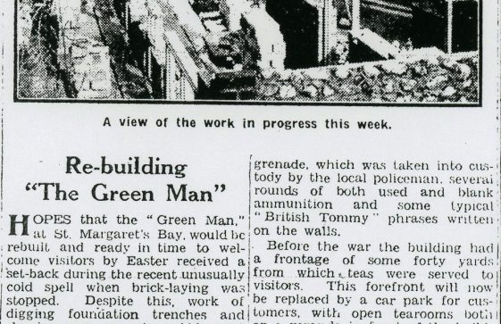 Rebuilding The Green Man after WW2. March 1954