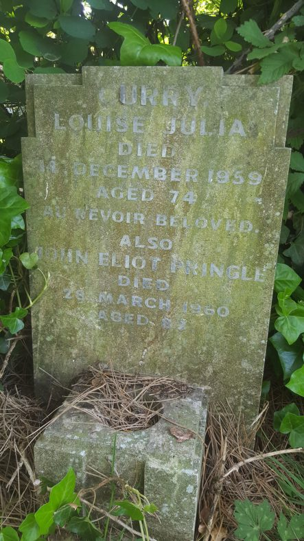 Gravestone of CURRY Louise Julia 1959; PRINGLE John Eliot 1960 | Dawn Sedgwick