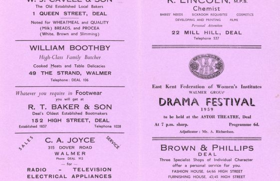 Programme for the WI Drama Festival 1959