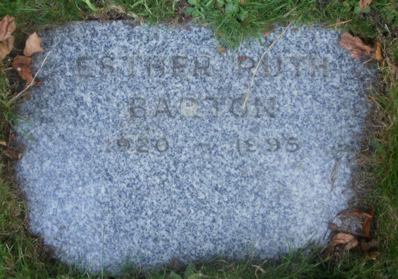 Gravestone of BARTON Esther Ruth 1995 | Dawn Sedgwick
