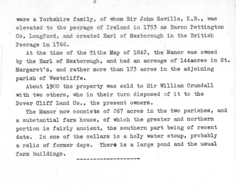 A typewritten brief outline of 'The Manor of Wanstone'