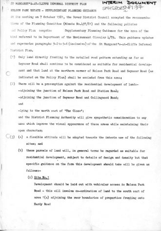 Interim Document 1 - Nelson Park Estate Supplementary Planning Guidance. 7 October 198