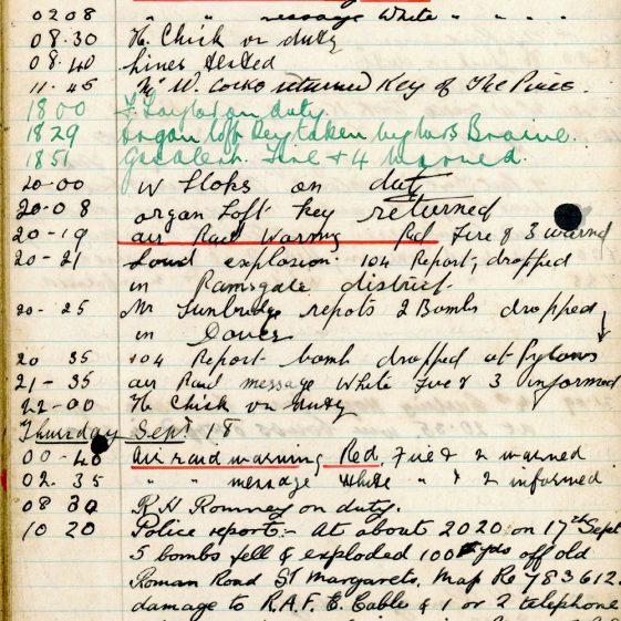 St Margaret's ARP (Air Raid Precautions) Log. Volume 4. 18 February 1941 - 25 September 1941. Pages 134-141