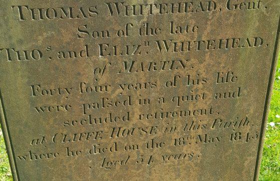Gravestone of WHITEHEAD Thomas 1845