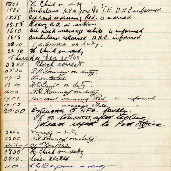 St Margaret's ARP (Air Raid Precautions) Log. Volume 8. 25 October 1943 - 10 August 1944. Pages 22-34
