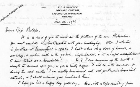 Letter to Major Phillips with a photograph of Eunie Evens of Holly Lodge. 26th December 1966