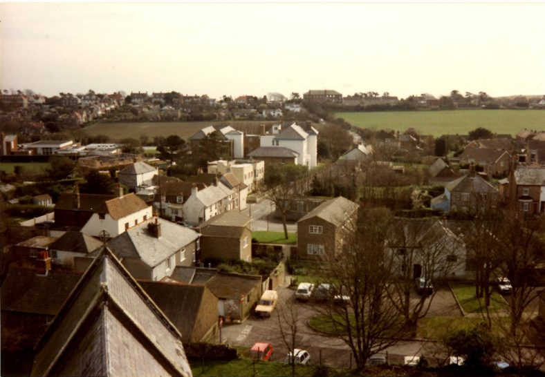 Junction of High Street and Reach Road from the church roof. 11 March 1989