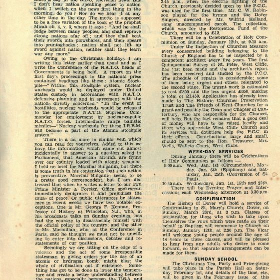 Church Magazine of St Margaret's at Cliffe and St Peter's Westcliffe. January 1958