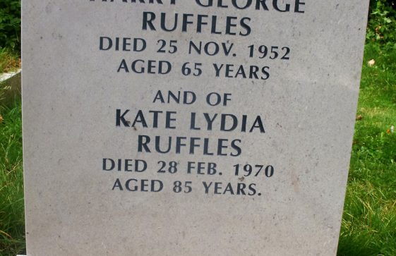 Gravestone of RUFFLES Harry George 1952; RUFFLES Kate Lydia 1970