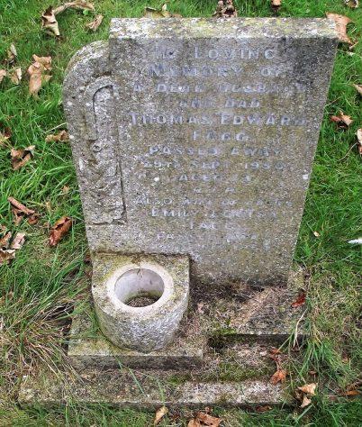 Gravestone of FAGG Thomas Edward 1950; FAGG Emily Louisa 1964