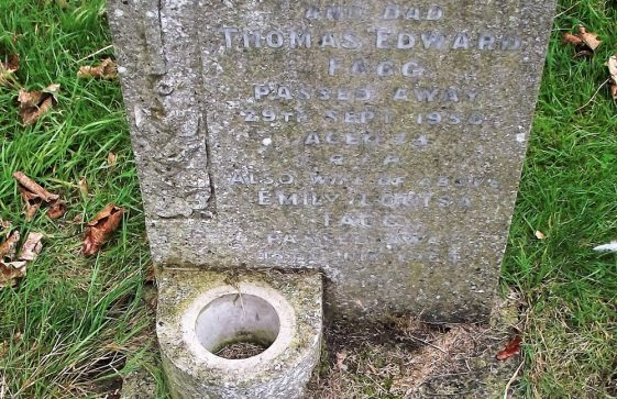 Gravestone of FAGG Thomas Edward 1950; FAGG Emily Louisa 1964