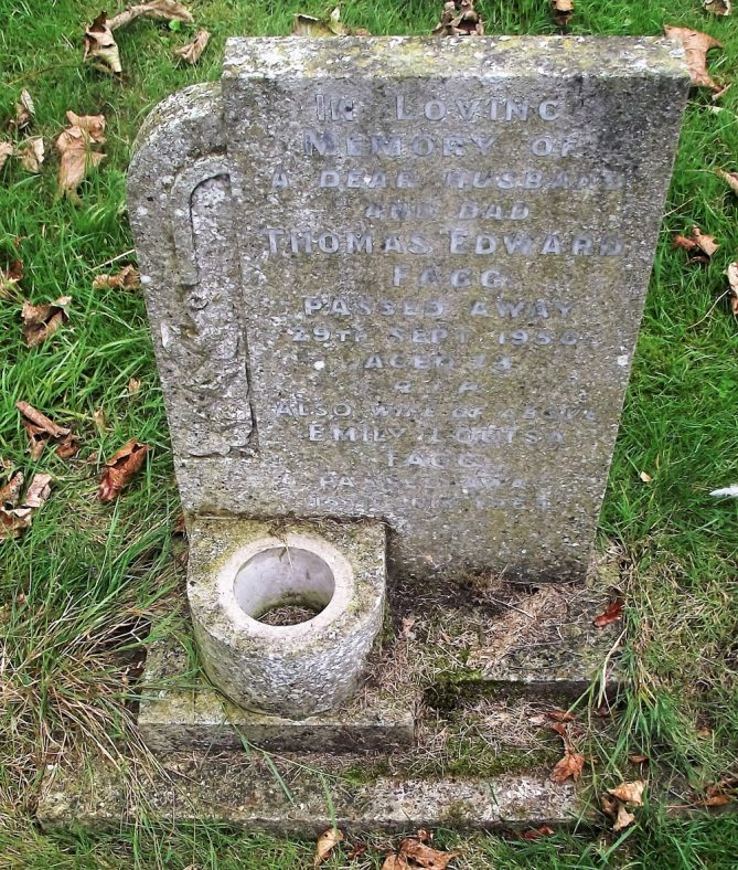 Gravestone of FAGG Thomas Edward 1950; FAGG Emily Louisa 1964 | Dawn Sedgwick