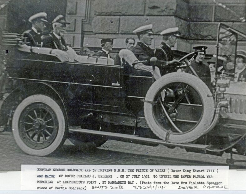 Prince of Wales being driven to the unveiling of the Dover Patrol Memorial. 27 July 1921