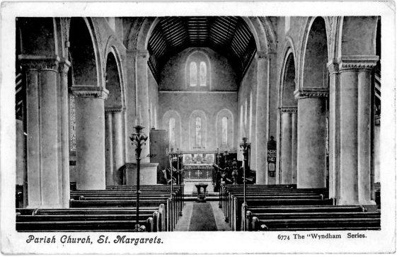 Interior of St Margaret's Church facing east. postmark 1904.