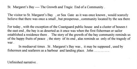 'St Margaret's Bay The Growth and Tragic End of a Community'. anon