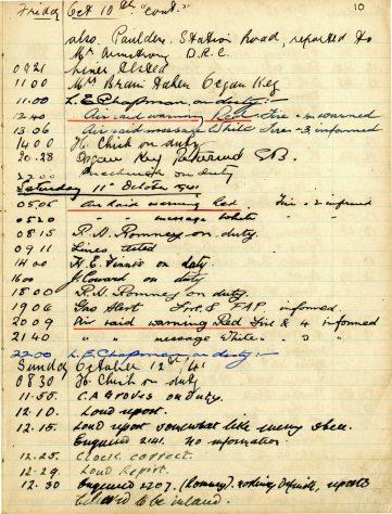St Margaret's ARP (Air Raid Precautions) Log. Volume 5. 25 September 1941 - 17 July 1942. Pages 10 - 19