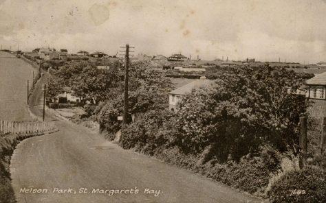 View along Station Road towards Nelson Park. postmark 1957