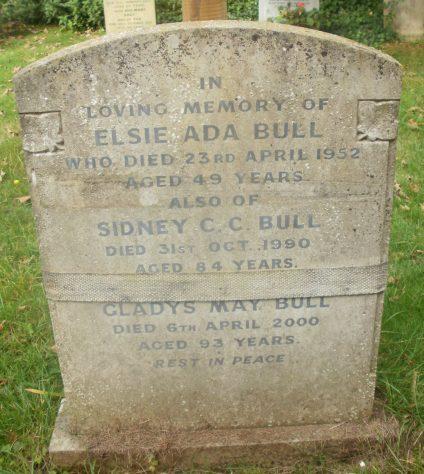 Gravestone of BULL Elsie Ada 1952; BULL Sidney C C 1990; BULL Gladys Mary 2000