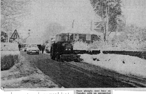 Snow plough in the High Street. April 1978