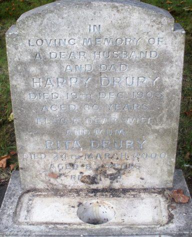 Gravestone of DRURY Harry 1993; DRURY Rita Elizabeth Margaret 2000
