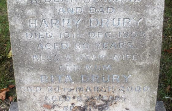 Gravestone of DRURY Harry 1993; DRURY Rita 2000