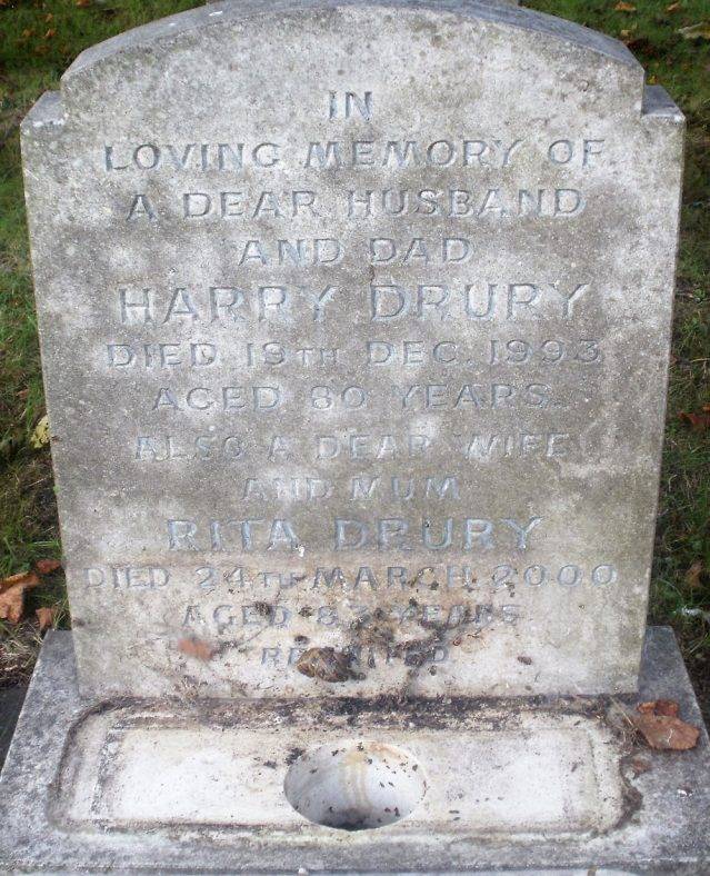 Gravestone of DRURY Harry 1993; DRURY Rita 2000   Dawn Sedgwick