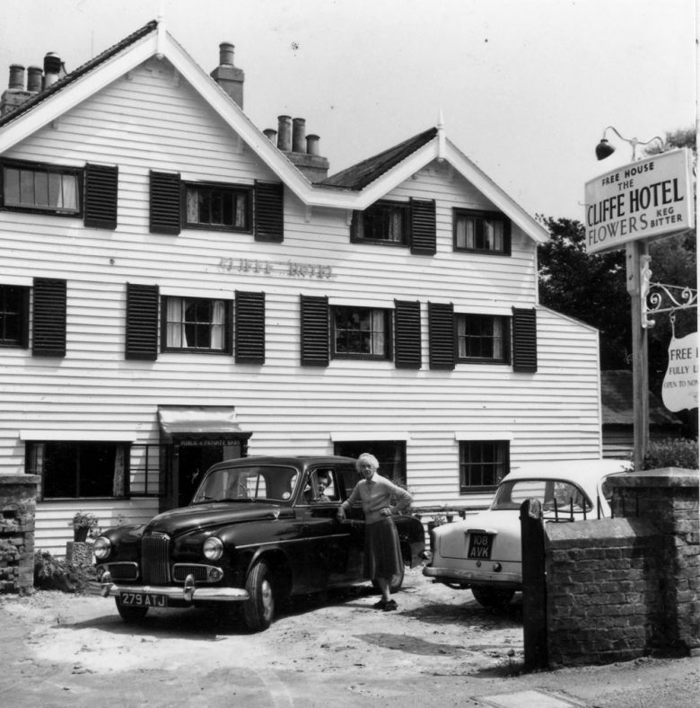 Eva Groves and Tommie Denoon, Cliffe Hotel car park. 1959