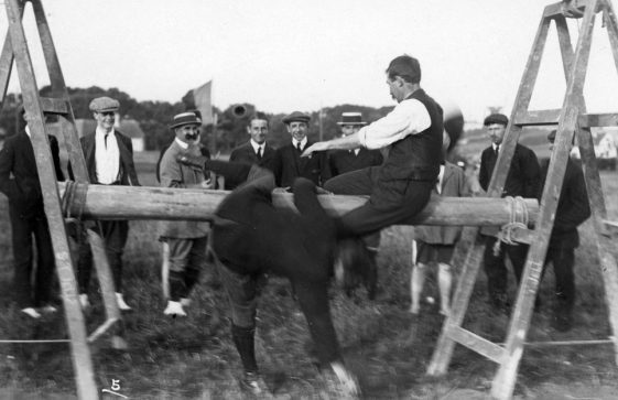 Pillow Fight at St Margaret's Sports Day. Undated c1910