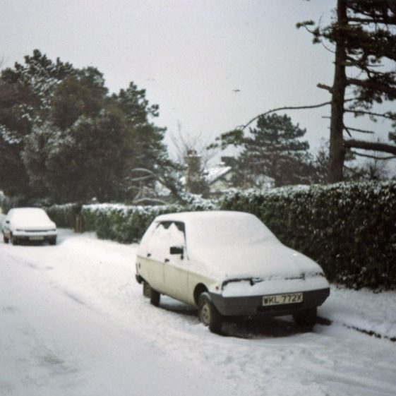 Three colour photographs of Granville Road in the snow. January 1985