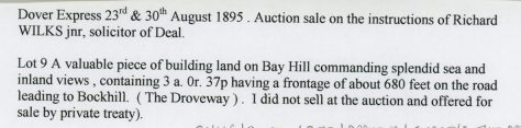 Auctioneers notice concerning the sale of a piece of land between The Droveway and Bay Hill. August 1895