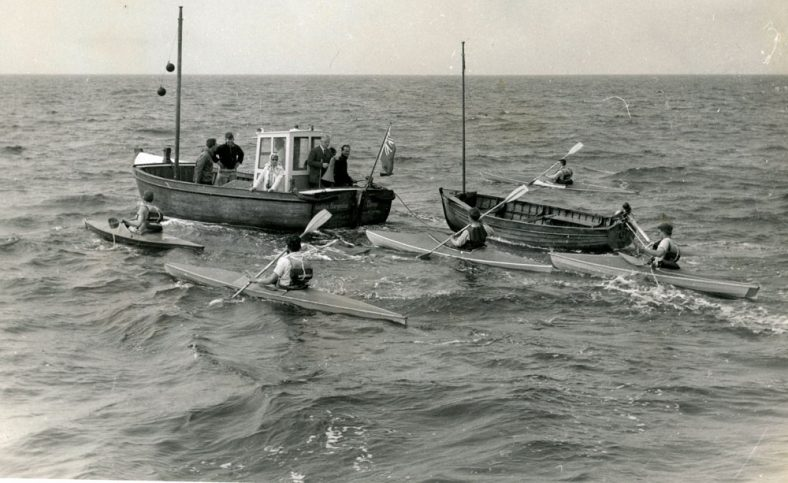 Canoeists setting off from St Margaret's Bay for Channel crossing. 31 August 1973