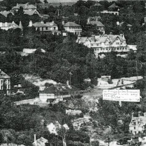 Aerial view of houses on Bay Hill. 1948