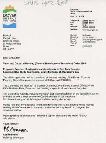 Notification of Planning Application for Bluebird Tea Rooms. 2009