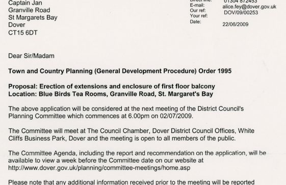 Notification of Planning Application for Bluebird Tea Rooms. 2009