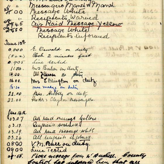St Margaret's ARP (Air Raid Precautions) Log. Volume 1. 1 September 1939 - 24 July 1940. Pages 101-110
