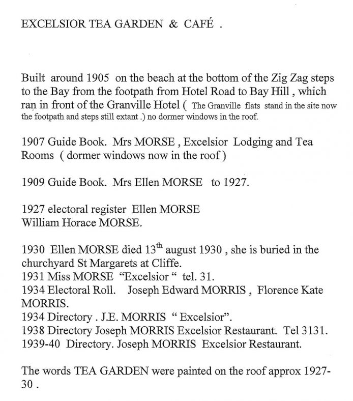 Excelsior Tea Rooms, a chronology