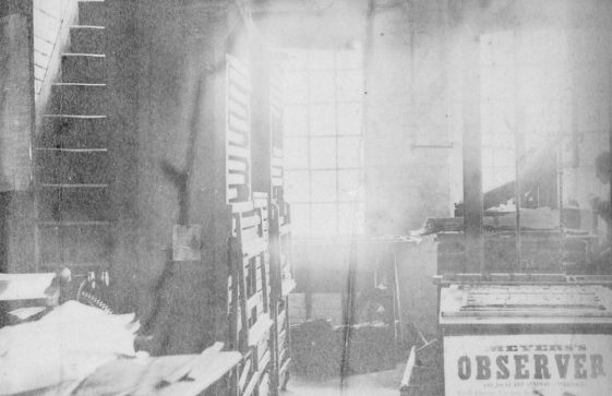 Interior view of printing works relating to the Madge family c.1890