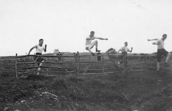 Hurdles race at St Margaret's Sports Day. 25th August 1910.