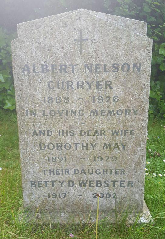 Gravestone of CURRYER Albert Nelson 1976; CURRYER Dorothy May 1979; WEBSTER Betty D 2002   Dawn Sedgwick