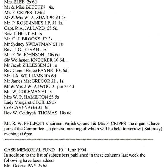 The Case Memorial Fund 1904